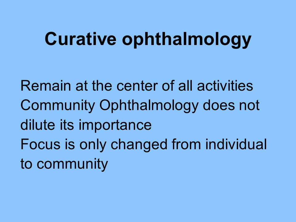 Curative ophthalmology