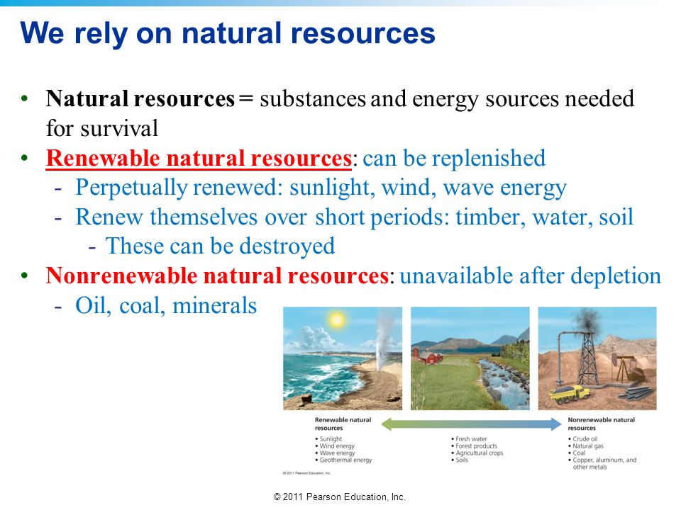 We rely on natural resources