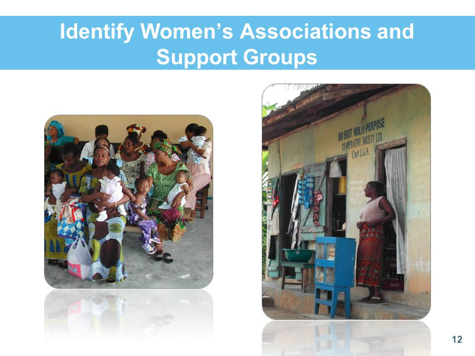Identify Women's Associations and Support Groups