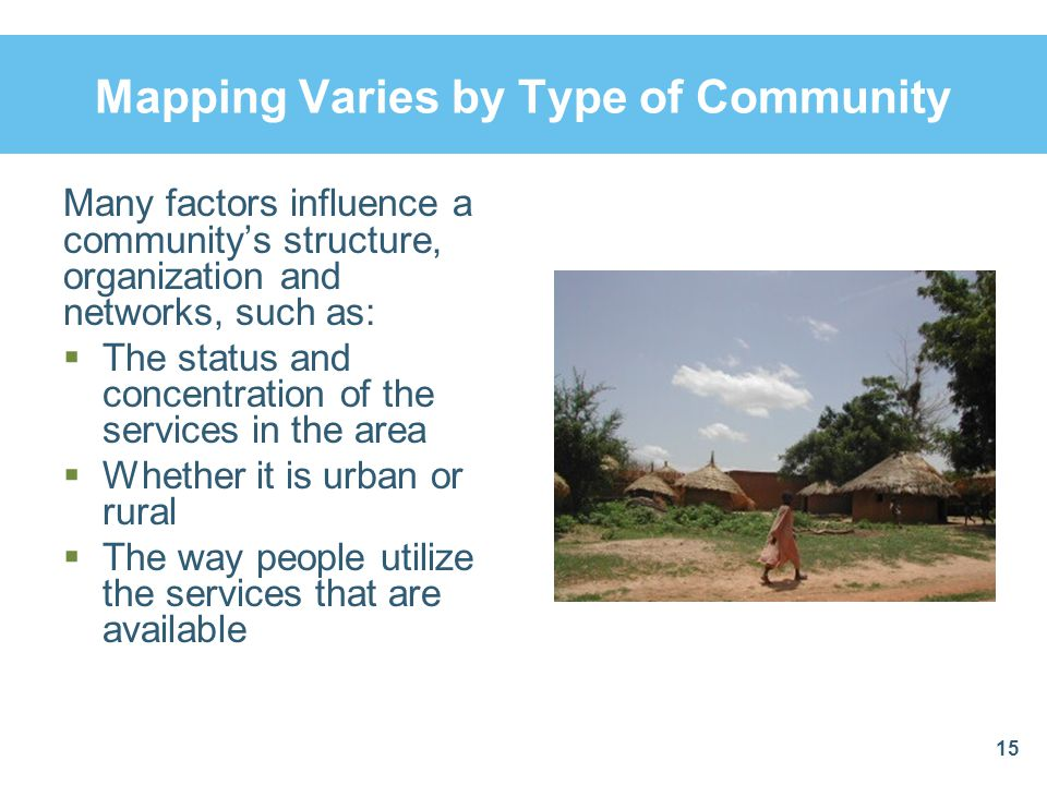 Mapping Varies by Type of Community