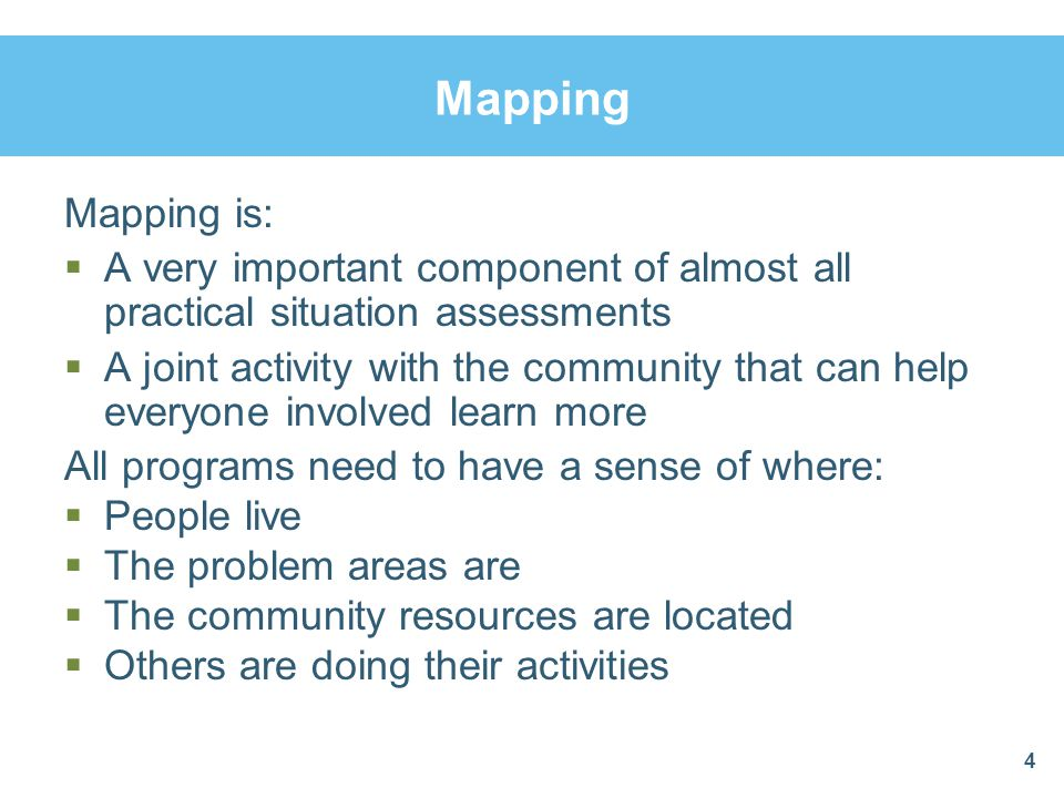 Mapping Mapping is: A very important component of almost all practical situation assessments.