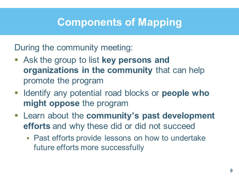 Components of Mapping During the community meeting: