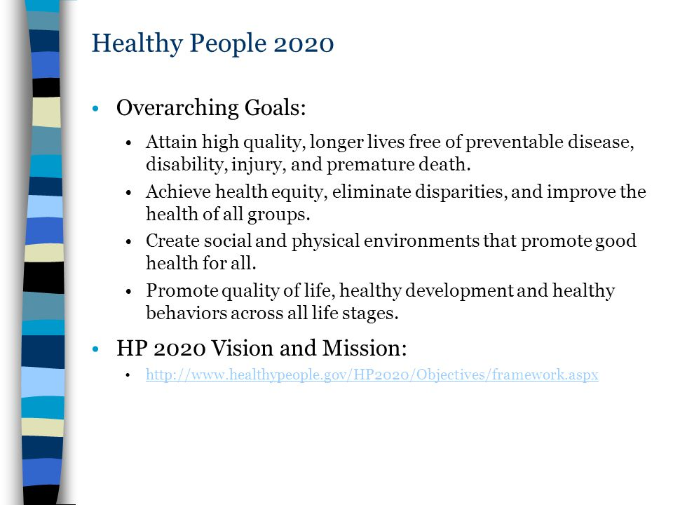 Healthy People 2020 Overarching Goals: HP 2020 Vision and Mission: