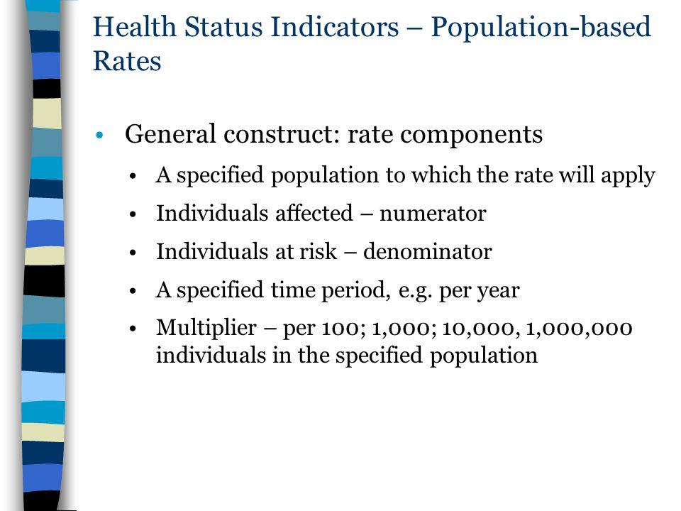 Health Status Indicators – Population-based Rates