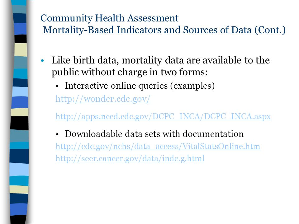 Community Health Assessment Mortality-Based Indicators and Sources of Data (Cont.)