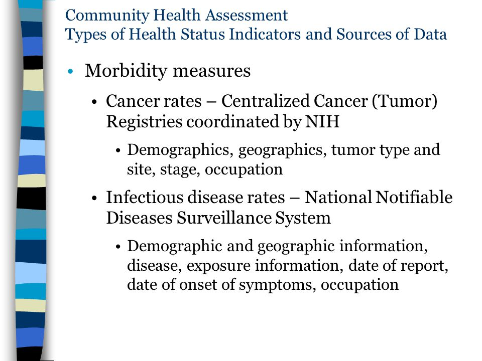 Community Health Assessment Types of Health Status Indicators and Sources of Data
