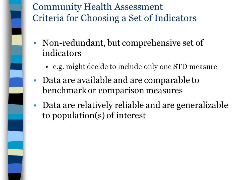 Community Health Assessment Criteria for Choosing a Set of Indicators
