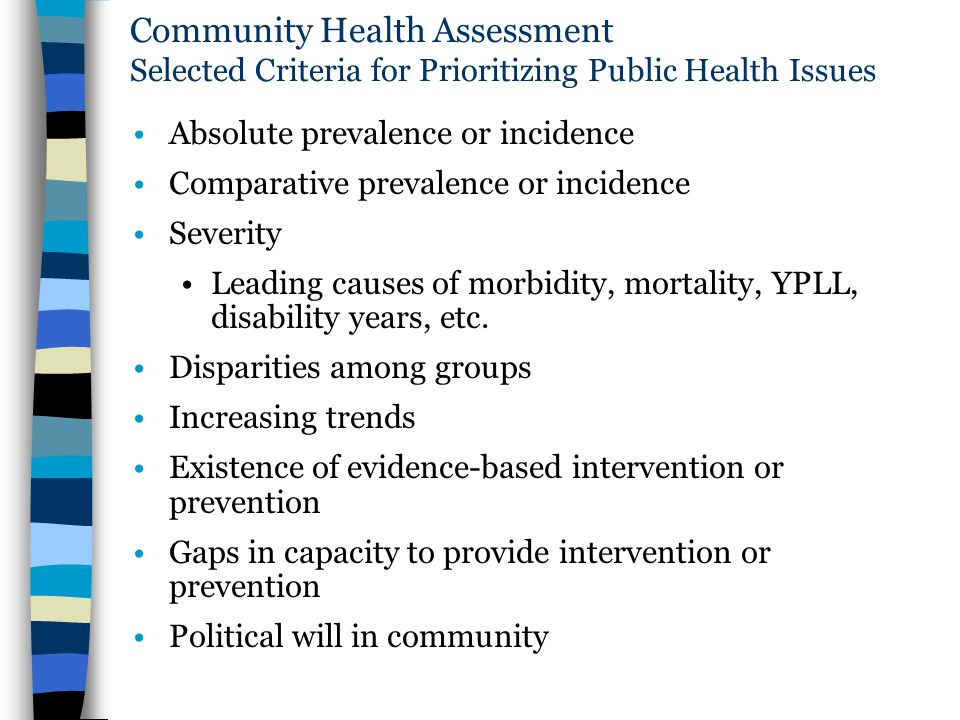 Community Health Assessment Selected Criteria for Prioritizing Public Health Issues