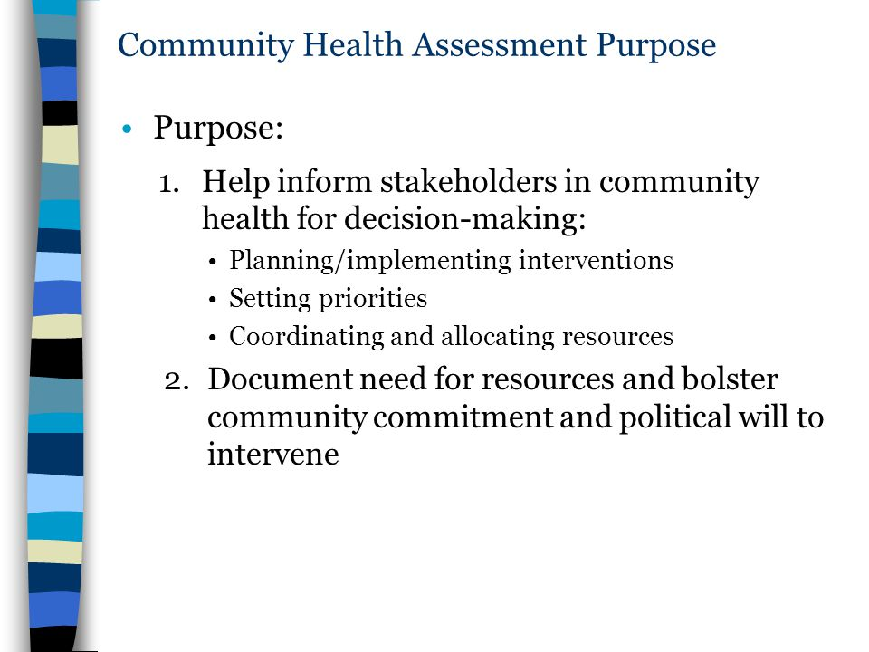 Community Health Assessment Purpose