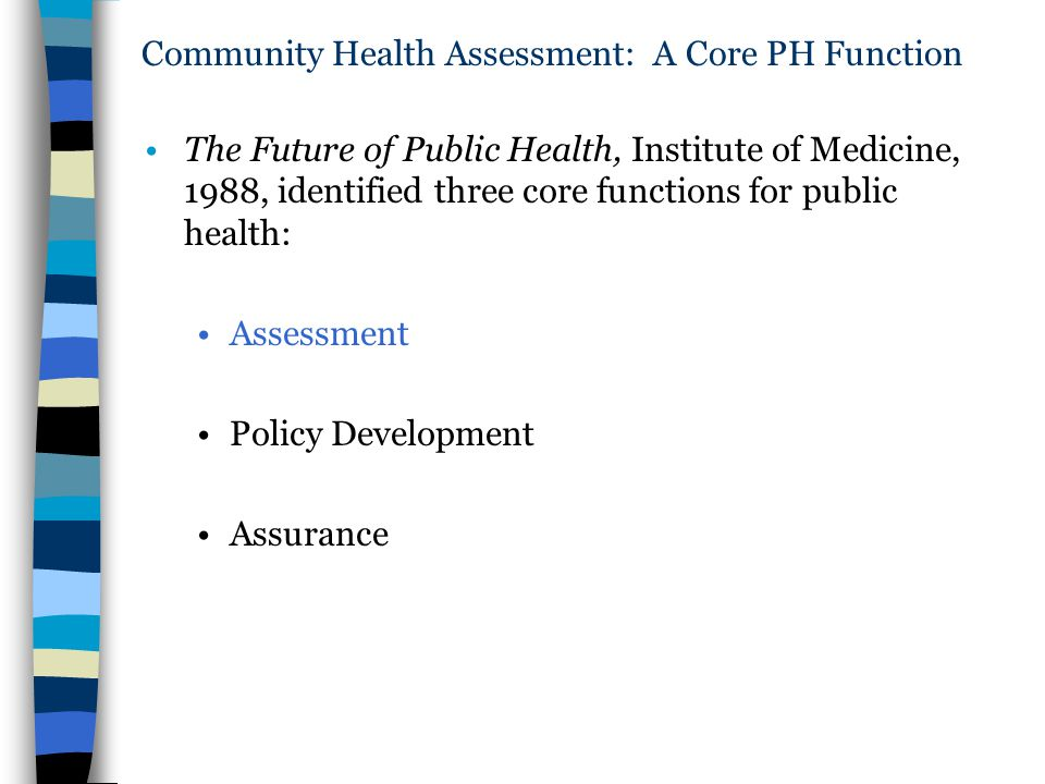Community Health Assessment: A Core PH Function