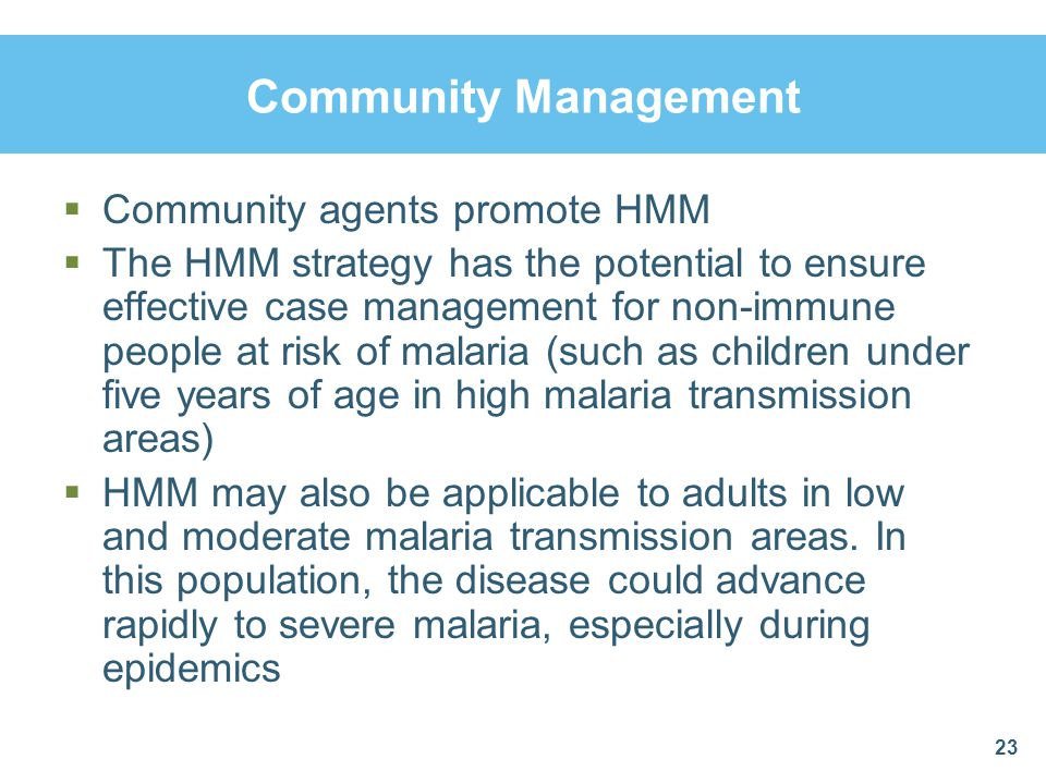 Community Management Community agents promote HMM