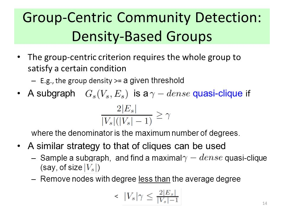 Group-Centric Community Detection: Density-Based Groups