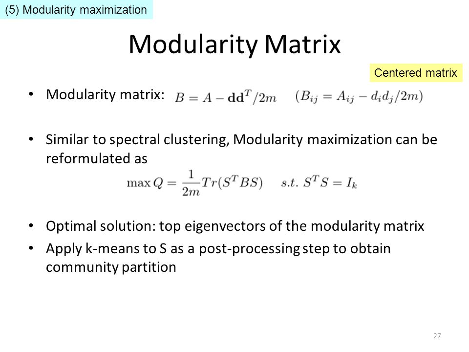 Modularity Matrix Modularity matrix: