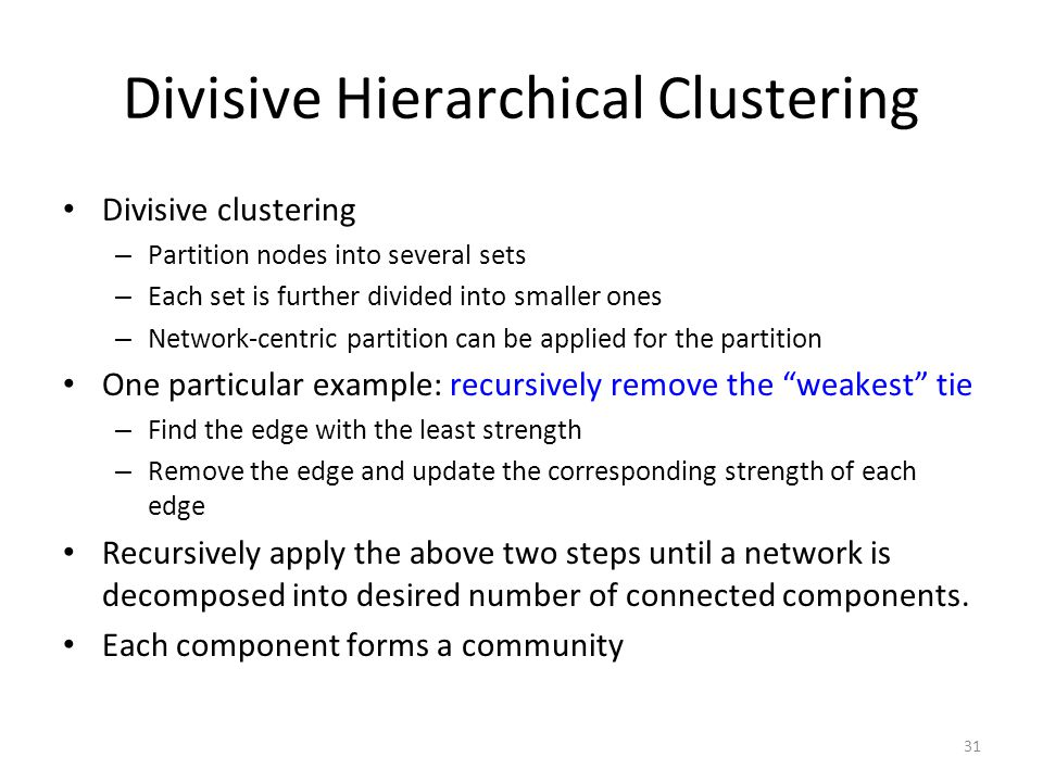 Divisive Hierarchical Clustering