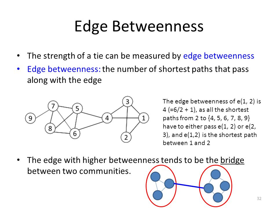 Edge Betweenness The strength of a tie can be measured by edge betweenness.