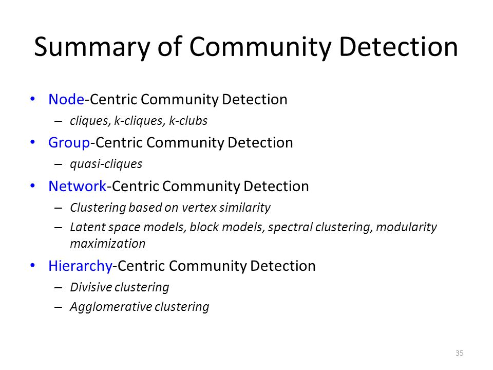 Summary of Community Detection