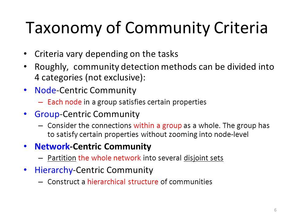 Taxonomy of Community Criteria