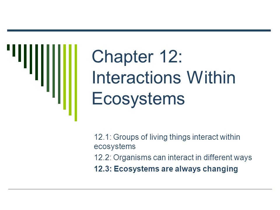 Chapter 12: Interactions Within Ecosystems