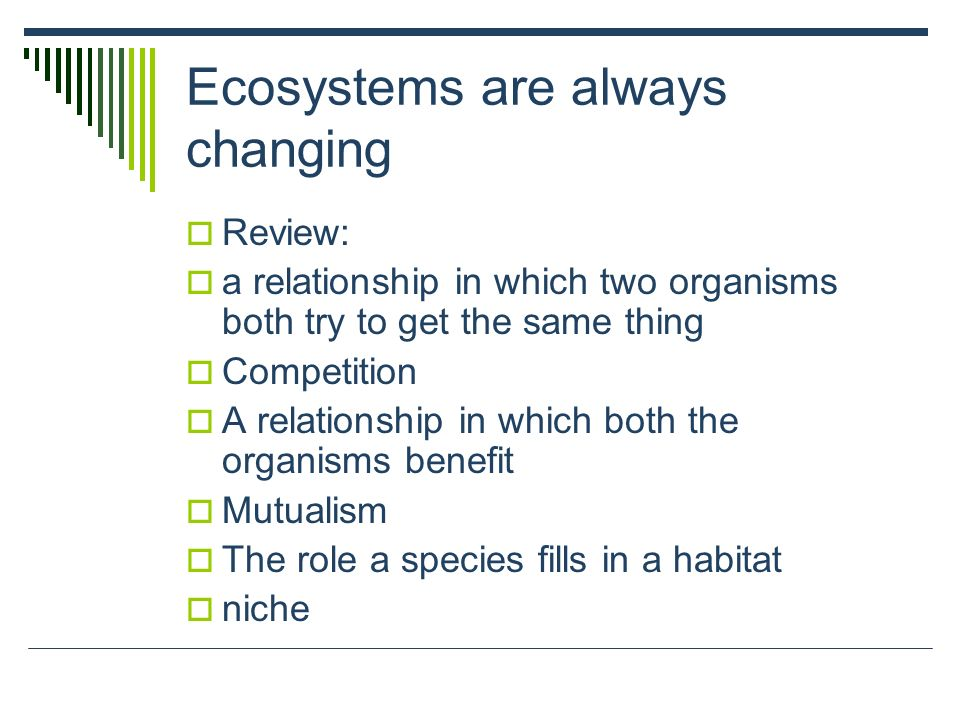 Ecosystems are always changing