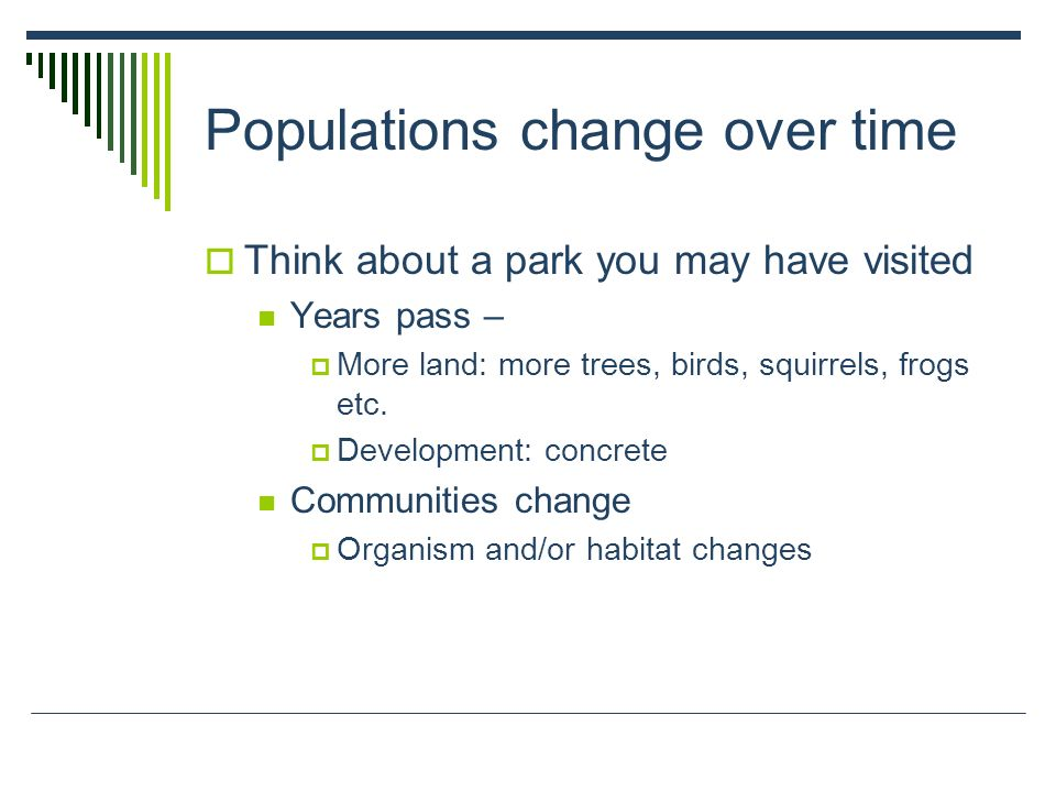 Populations change over time