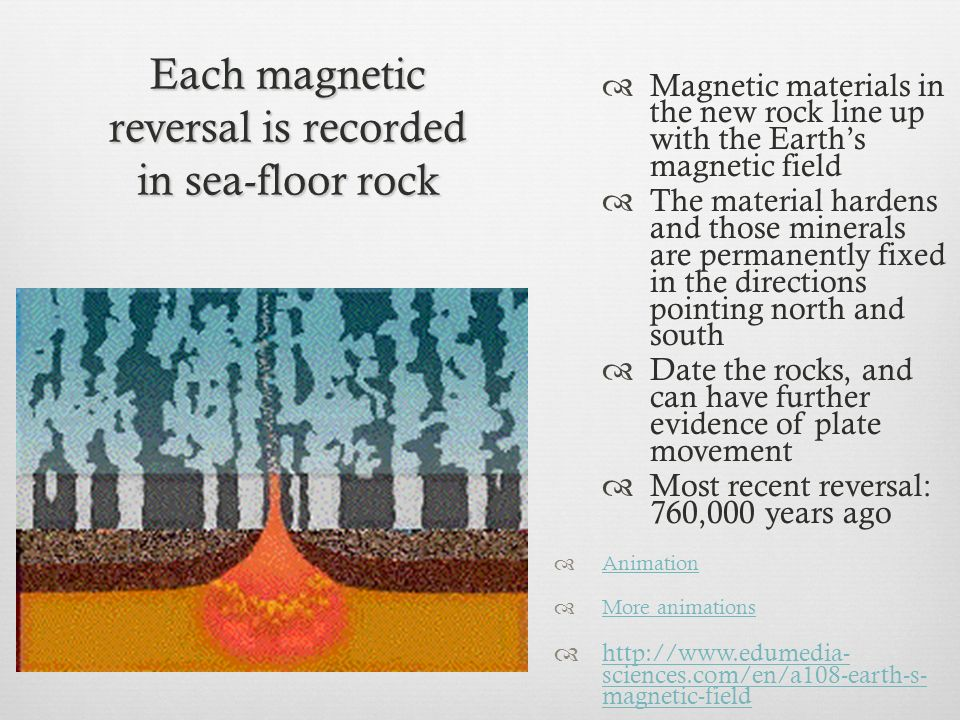 Each magnetic reversal is recorded in sea-floor rock