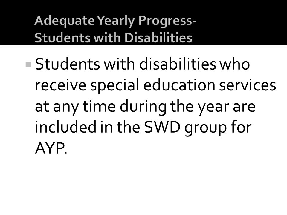 Adequate Yearly Progress- Students with Disabilities