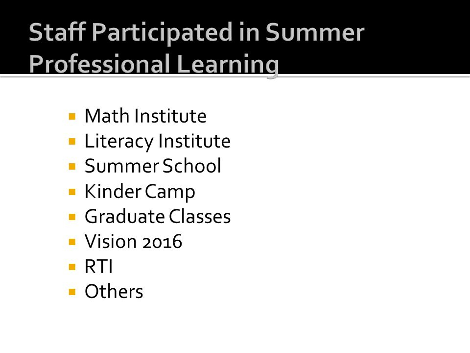 Staff Participated in Summer Professional Learning
