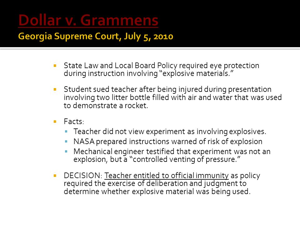 Dollar v. Grammens Georgia Supreme Court, July 5, 2010