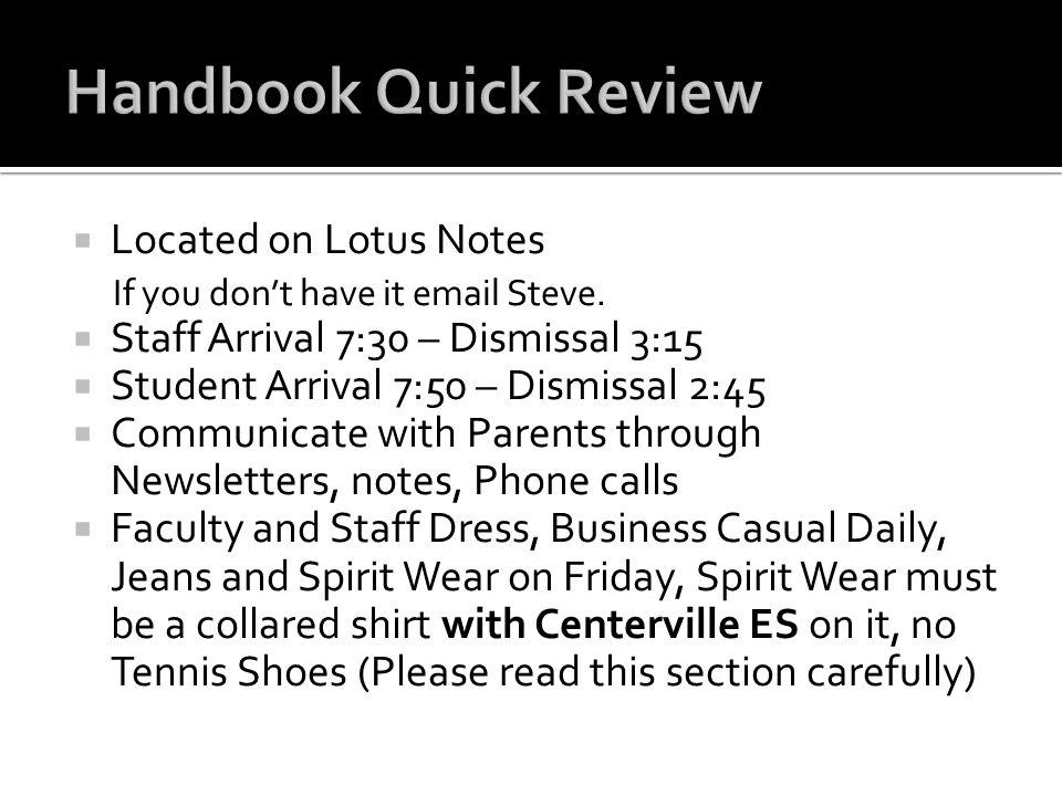 Handbook Quick Review Located on Lotus Notes