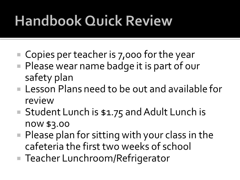 Handbook Quick Review Copies per teacher is 7,000 for the year
