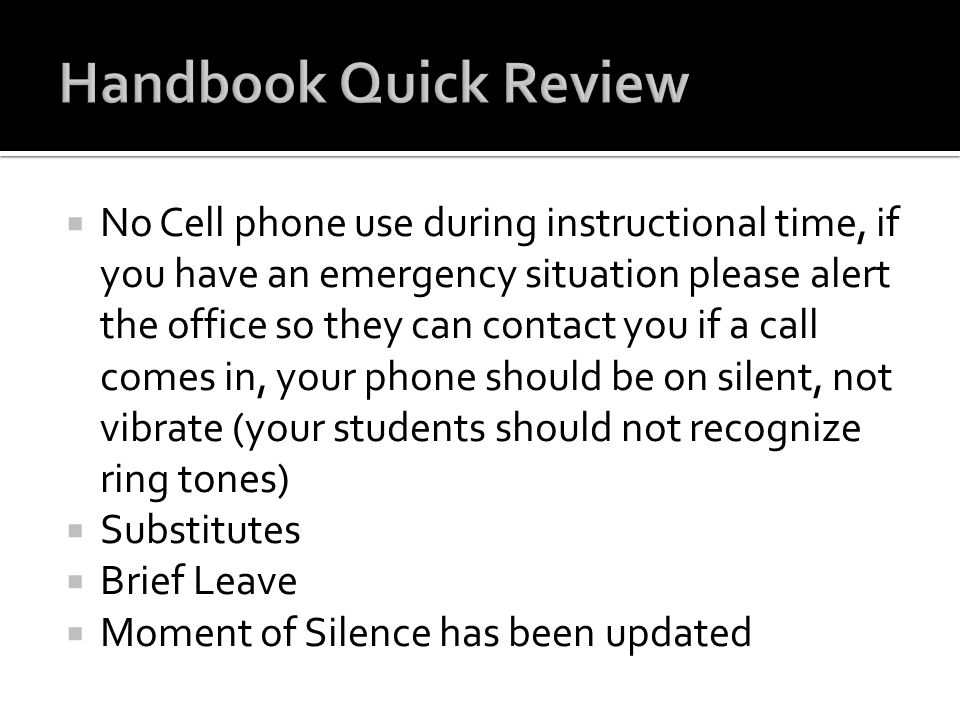 Handbook Quick Review