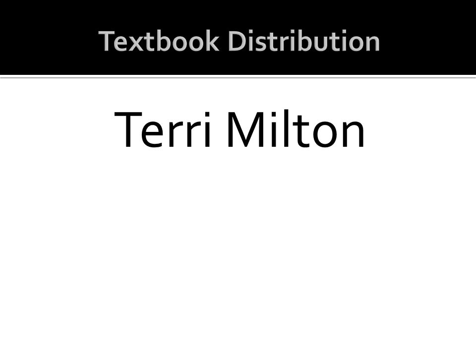 Textbook Distribution