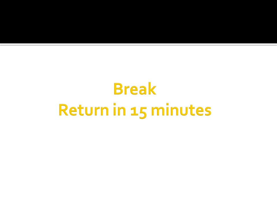 Break Return in 15 minutes