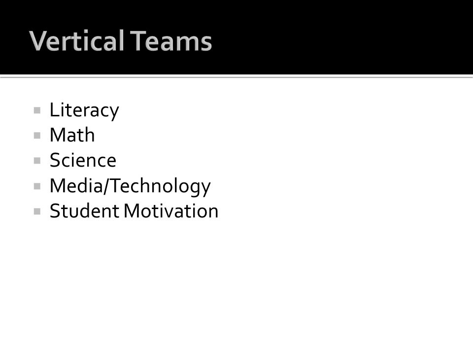 Vertical Teams Literacy Math Science Media/Technology