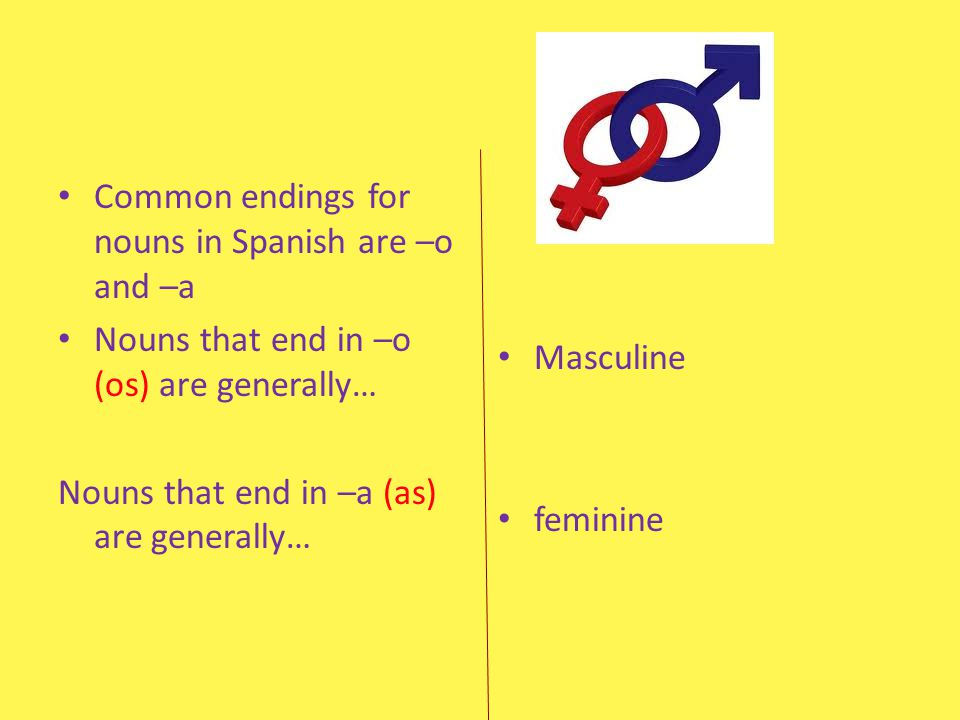 Common endings for nouns in Spanish are –o and –a