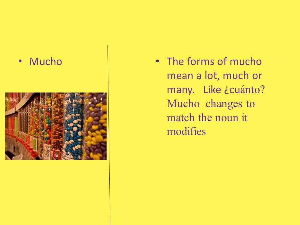 Mucho The forms of mucho mean a lot, much or many.