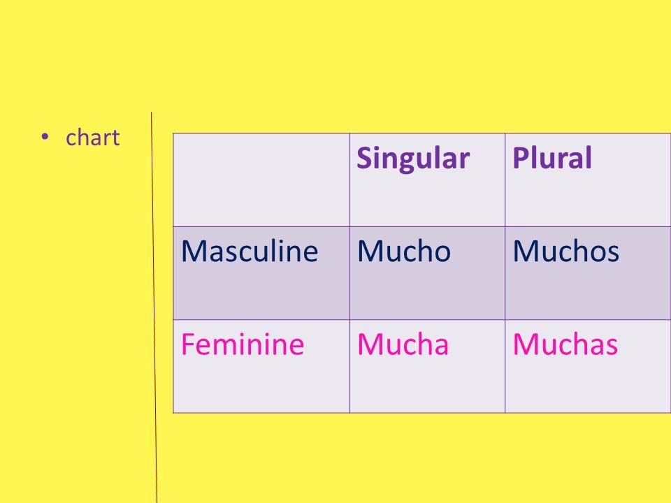 chart Singular Plural Masculine Mucho Muchos Feminine Mucha Muchas