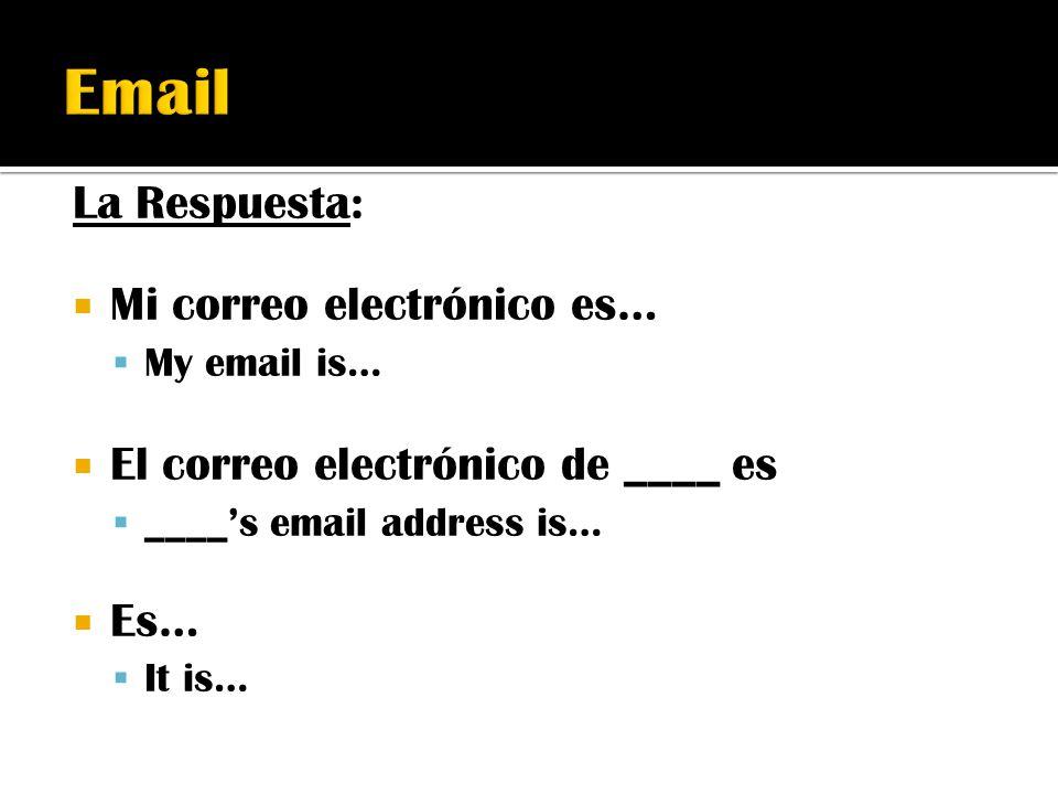 Email La Respuesta: Mi correo electrónico es…