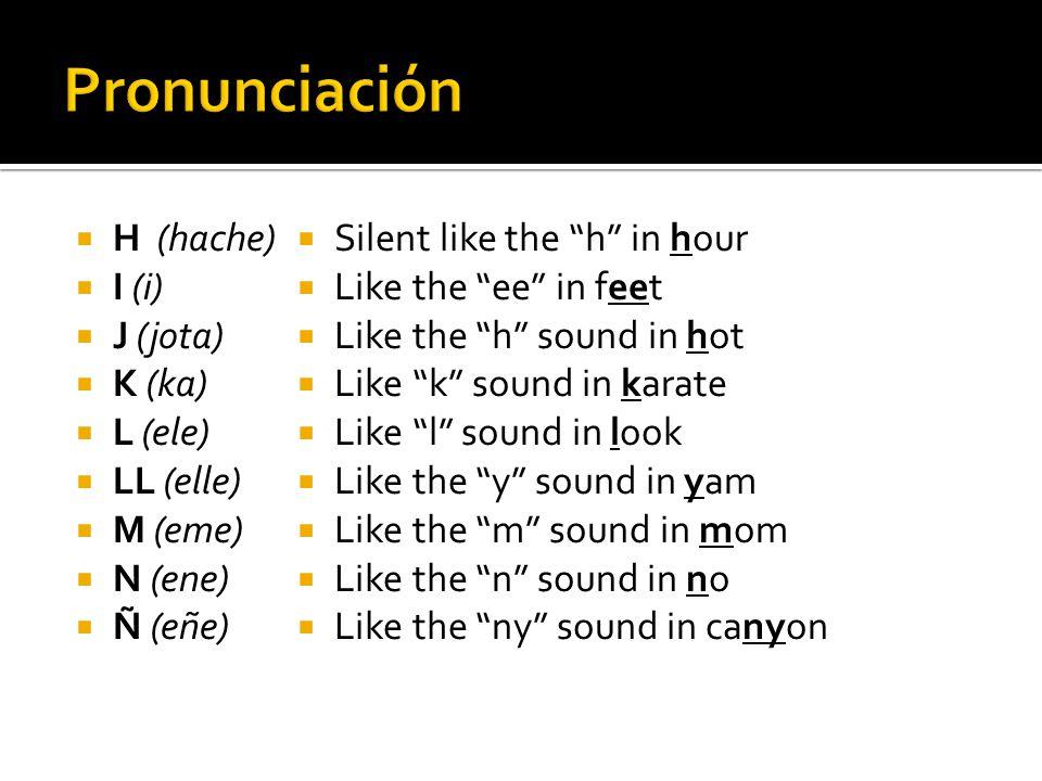 Pronunciación H (hache) I (i) J (jota) K (ka) L (ele) LL (elle)