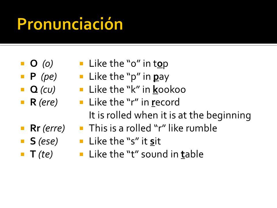 Pronunciación O (o) P (pe) Q (cu) R (ere) Rr (erre) S (ese) T (te)