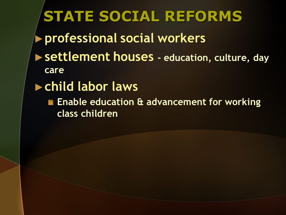 STATE SOCIAL REFORMS professional social workers