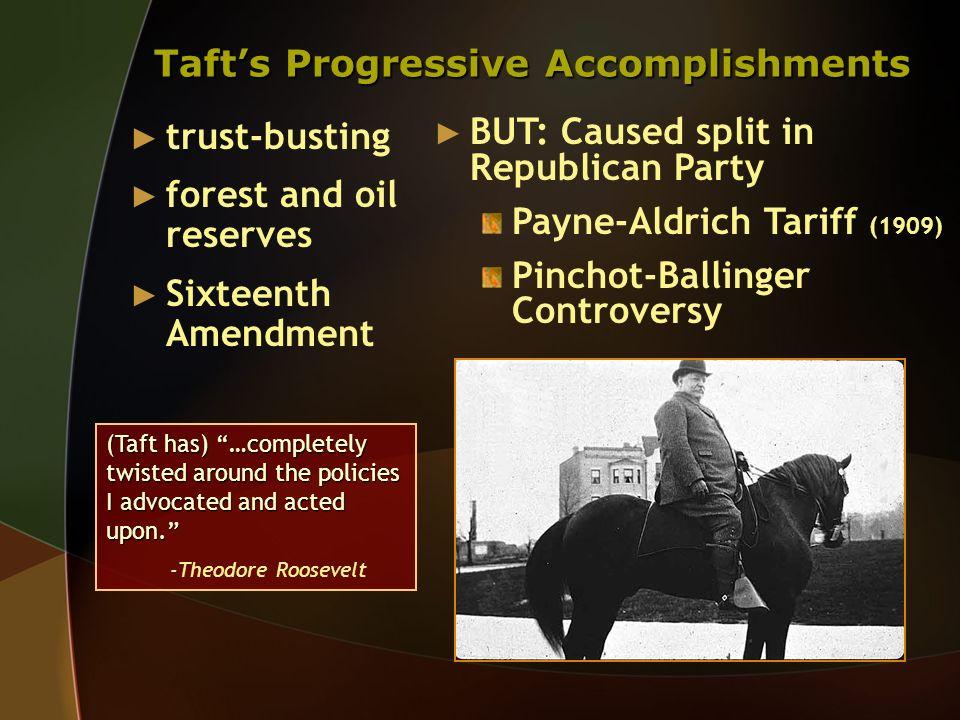 Taft's Progressive Accomplishments