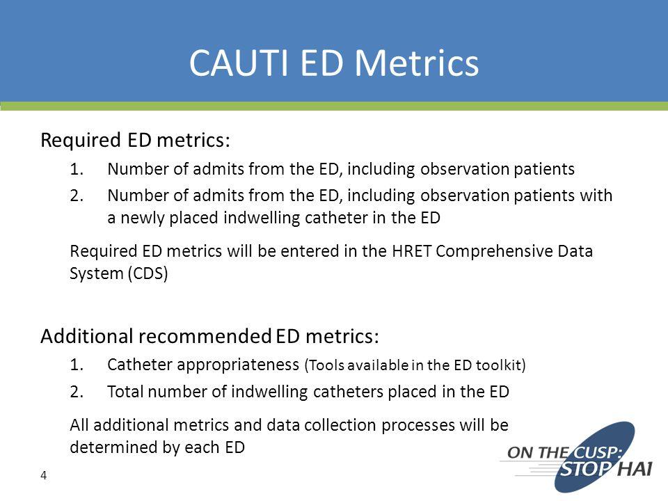 CAUTI ED Metrics Required ED metrics: