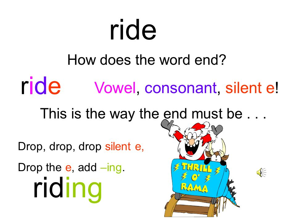 ride riding ride Vowel, consonant, silent e! How does the word end