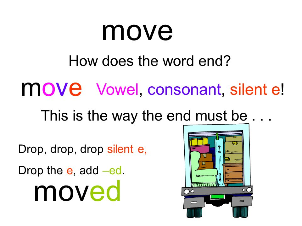 move moved move Vowel, consonant, silent e! How does the word end