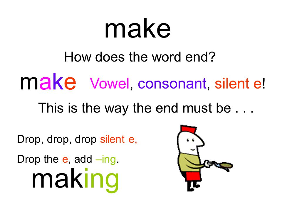 make making make Vowel, consonant, silent e! How does the word end