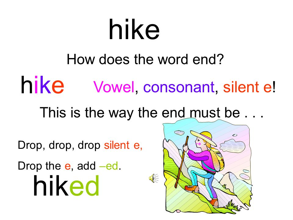 hike hiked hike Vowel, consonant, silent e! How does the word end