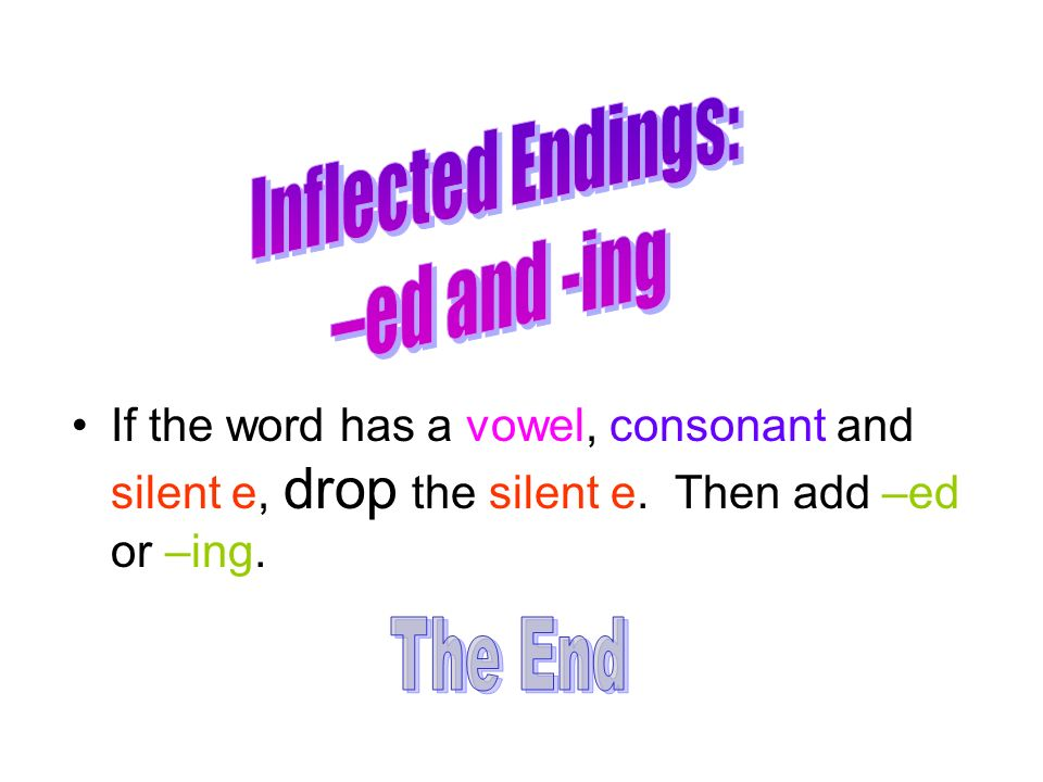 Inflected Endings: –ed and -ing The End