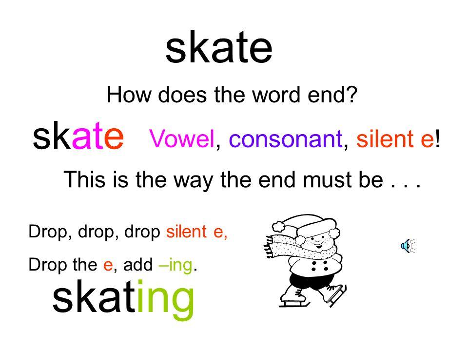 skate skating skate Vowel, consonant, silent e! How does the word end