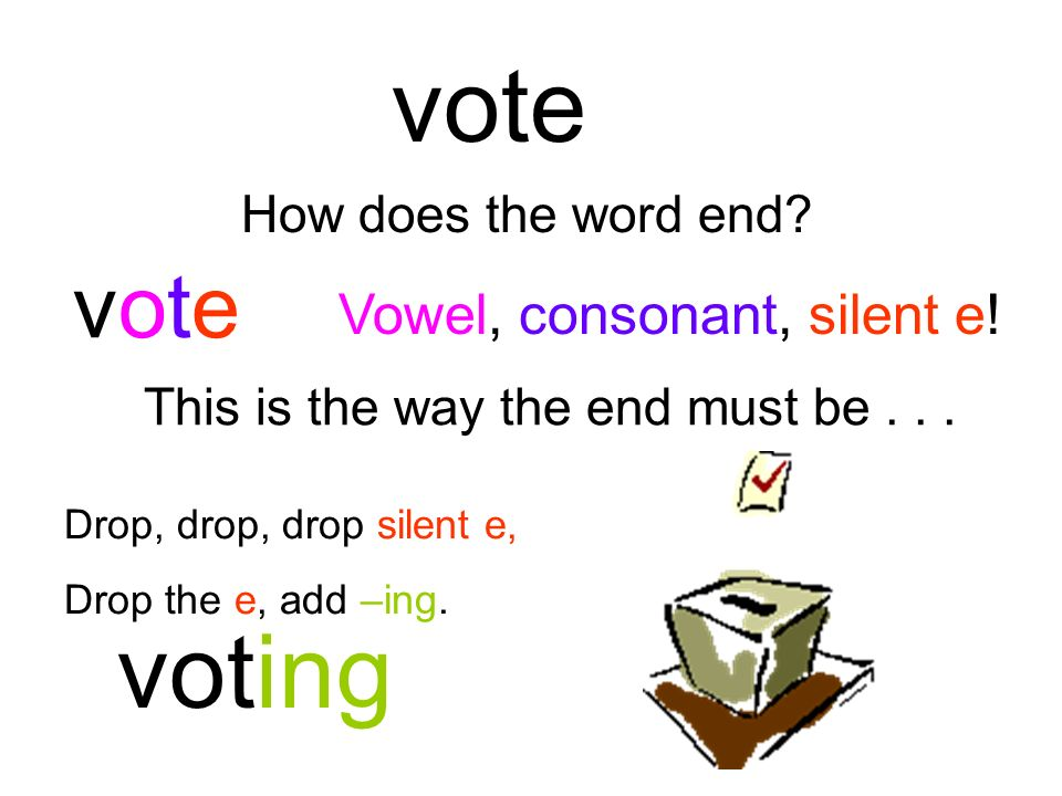 vote voting vote Vowel, consonant, silent e! How does the word end